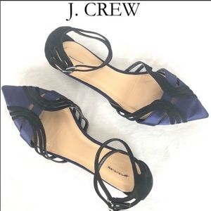 J. Crew black/ blue strappy pointed toe flats 7.5